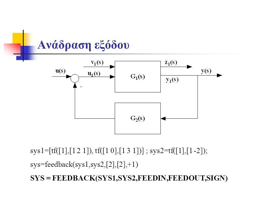 Ανάδραση εξόδου sys1=[tf([1],[1 2 1]), tf([1 0],[1 3 1])] ; sys2=tf([1],[1 -2]); sys=feedback(sys1,sys2,[2],[2],+1)
